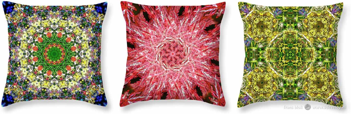 Three throw pillows, with kaleidoscopic patterns printed on them