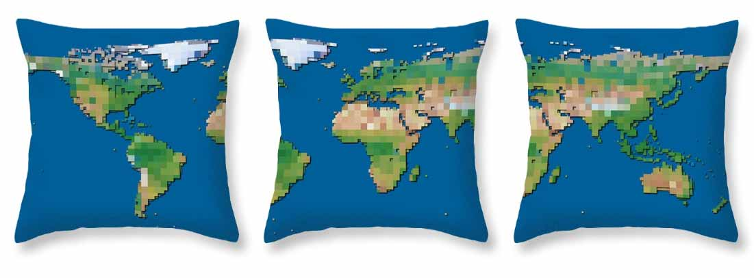 The World Block Map, printed on three throw pillows