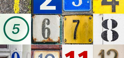 Collage of the numbers 1 through 12, photographed on house numbers, traffic signs and other found footage