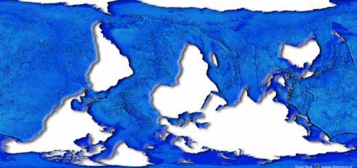 Een wereldkaart zoals dolfijnen 'm zouden maken: een netwerk van oceanen en zeen met wat terra incognita er in.