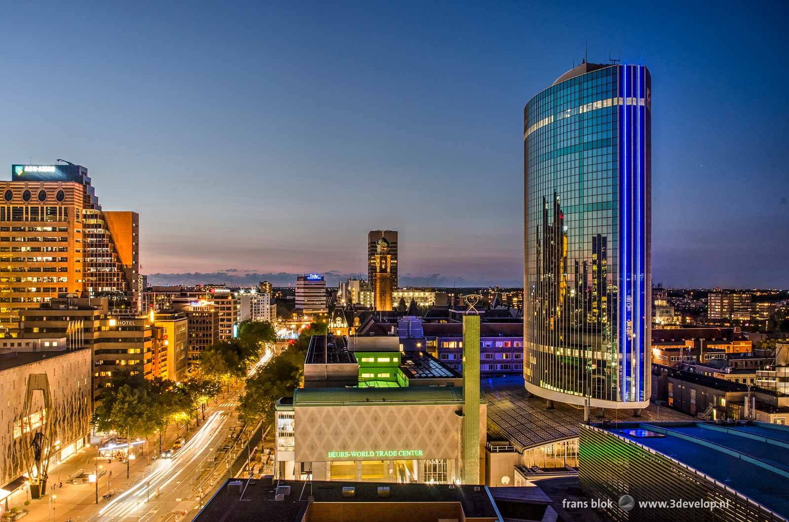 Coolsingel and Beurs World Trade Center in Rotterdam at nightfall seen from the roof of Erasmushuis