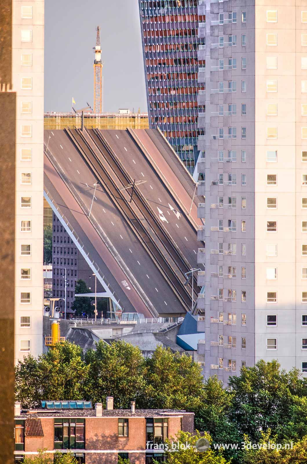 Doorkijkje vanaf het Erasmushuis in Rotterdam naar het beweegbare deel van de Erasmusbrug in geopende stand.