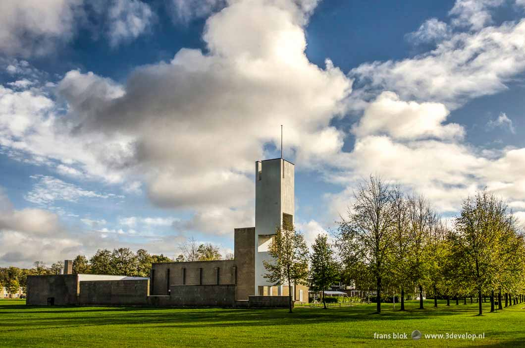 Modernist church in the green central area in the village of Nagele in the North East Polder in the Netherlands