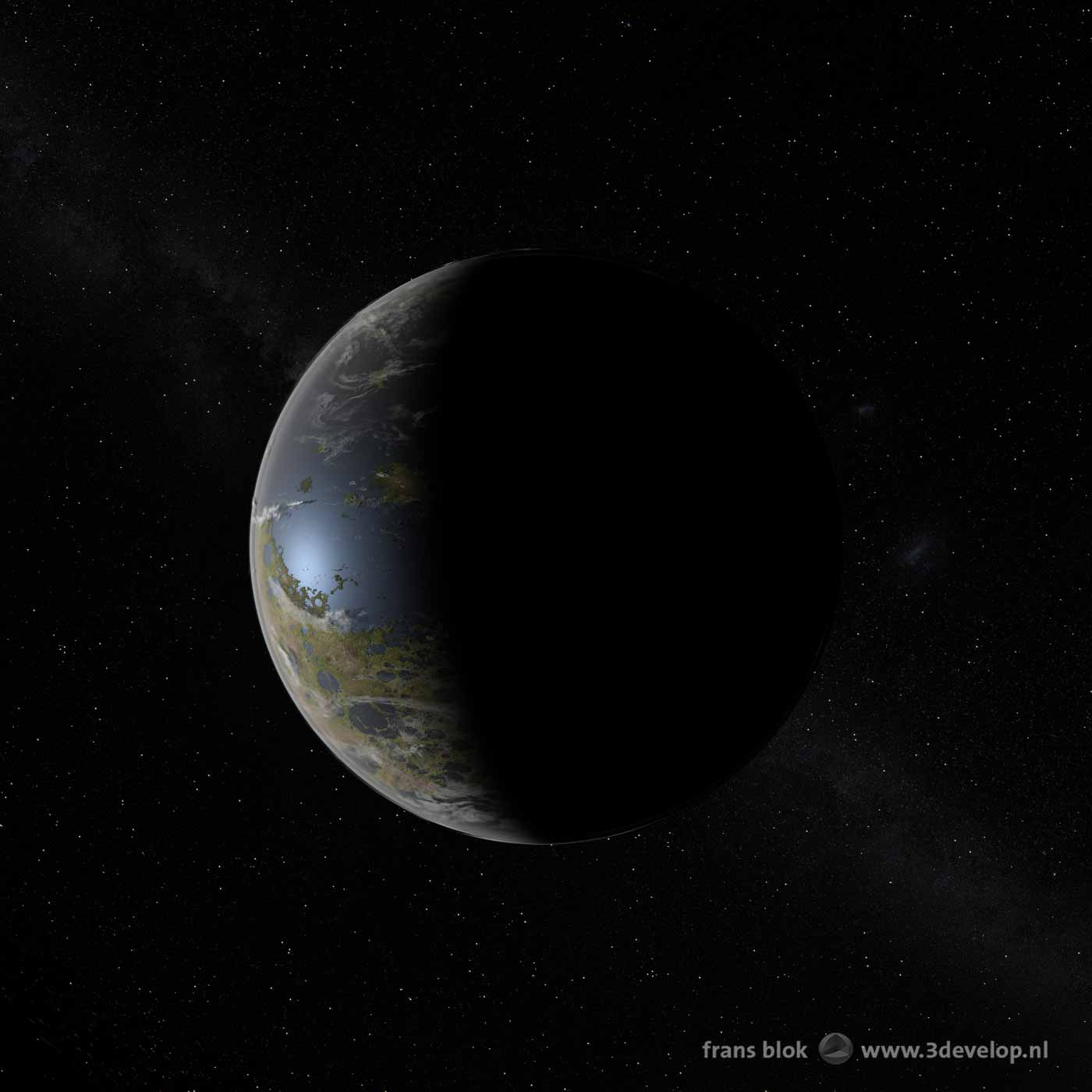Artist impression of a celestial body with seas and lakes, clouds and forests, which on closer inspection turns out to be earth's Moon, terraformed