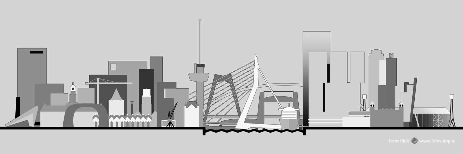 Grafische afbeelding van de skyline van Rotterdam, met onder andere Euromast, Erasmusbrug en Markthal, zoals die, vaak verborgen achter filmposters, aangebracht is op de gevel van de Pathe-bioscoop op het Schouwburgplein