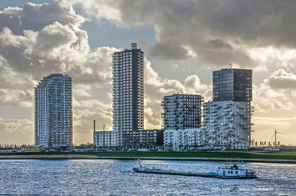 View from Hoogvliet towards the recent highrise in Spijkenisse on the other side of the river Oude Maas