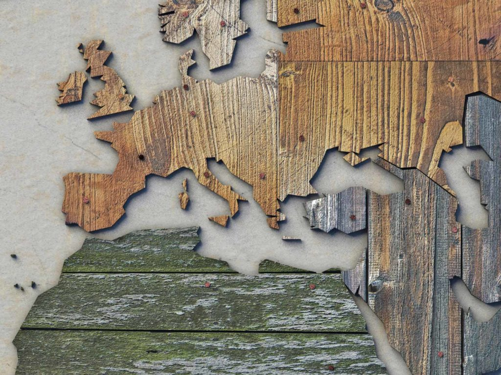 Section of a scrapwood map of the world made of old planks, plywood and other recycled material, showing the regions around the Mediterranean Sea