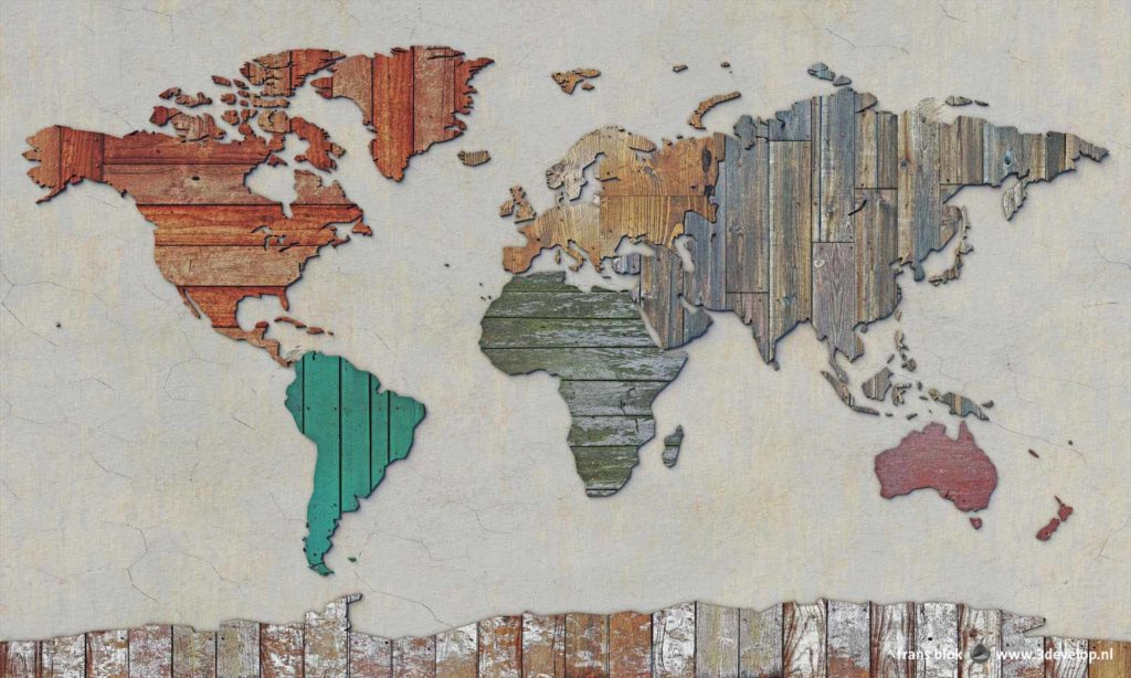 world map made of scrapwood, old planks, plywood and othe recycled material