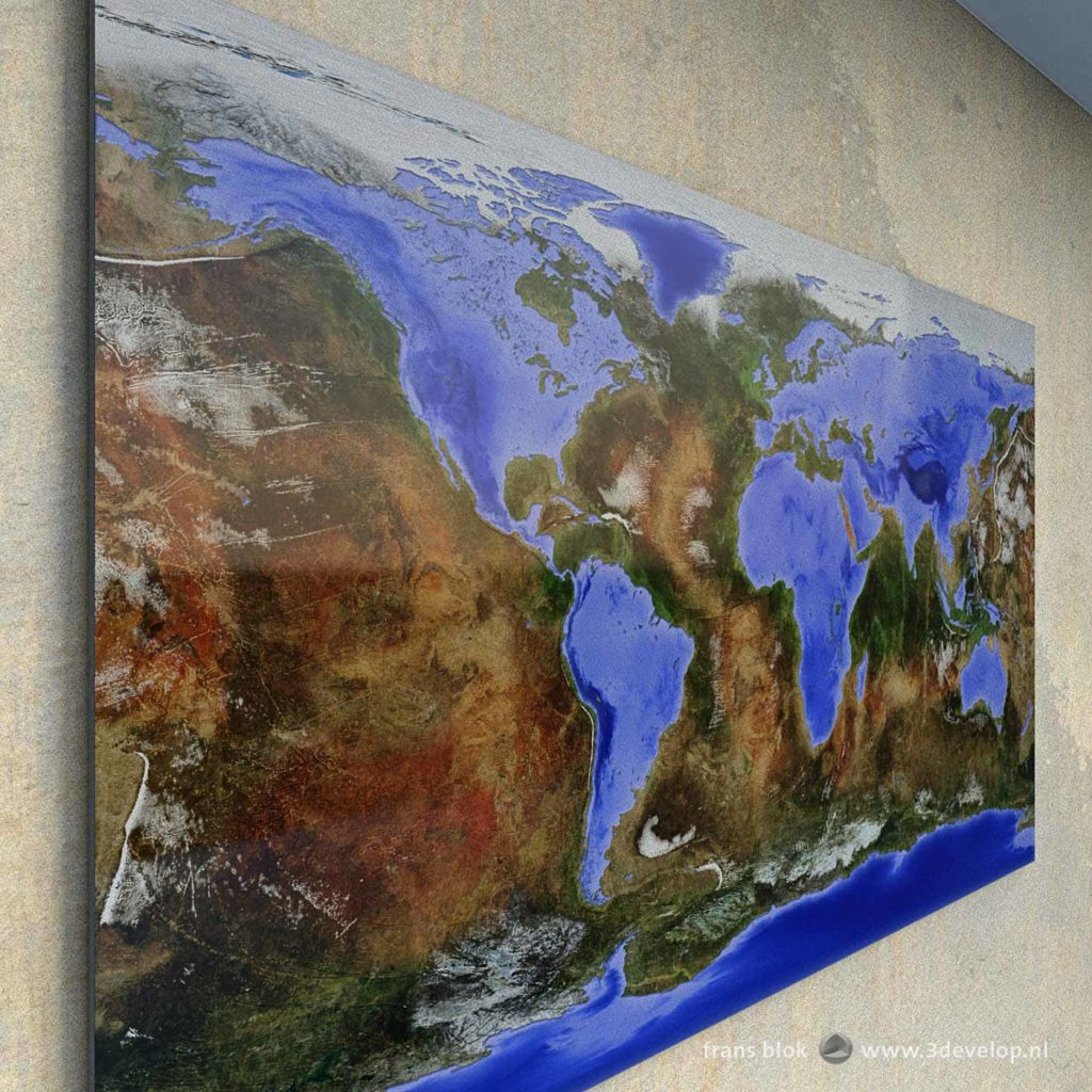 Map of the Inverted World, a fantasy world in which oceans and continents have been swapped, where land is water and water is land, as wall decoration in a virtual room