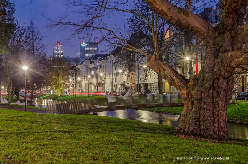 Westersingel canal in Rotterdam during the blue hour on a January morning with 19th century houses and in the background the modern downtown highrise