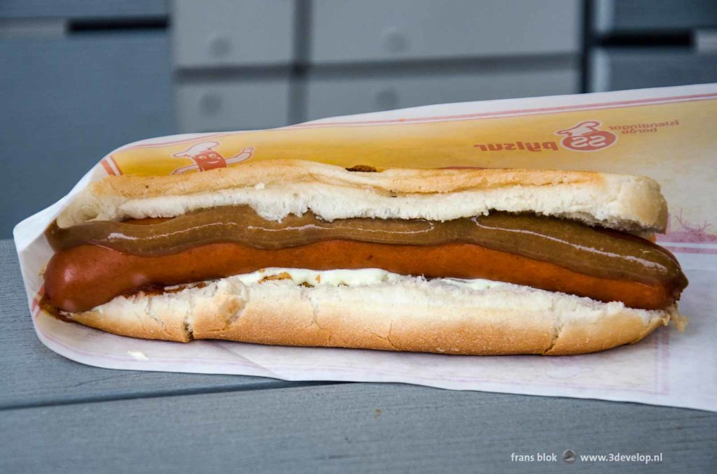 Iceland's national snack, the pylsur, a hotdog with mustard, ketchup, mayonaise as well as raw and fried onions