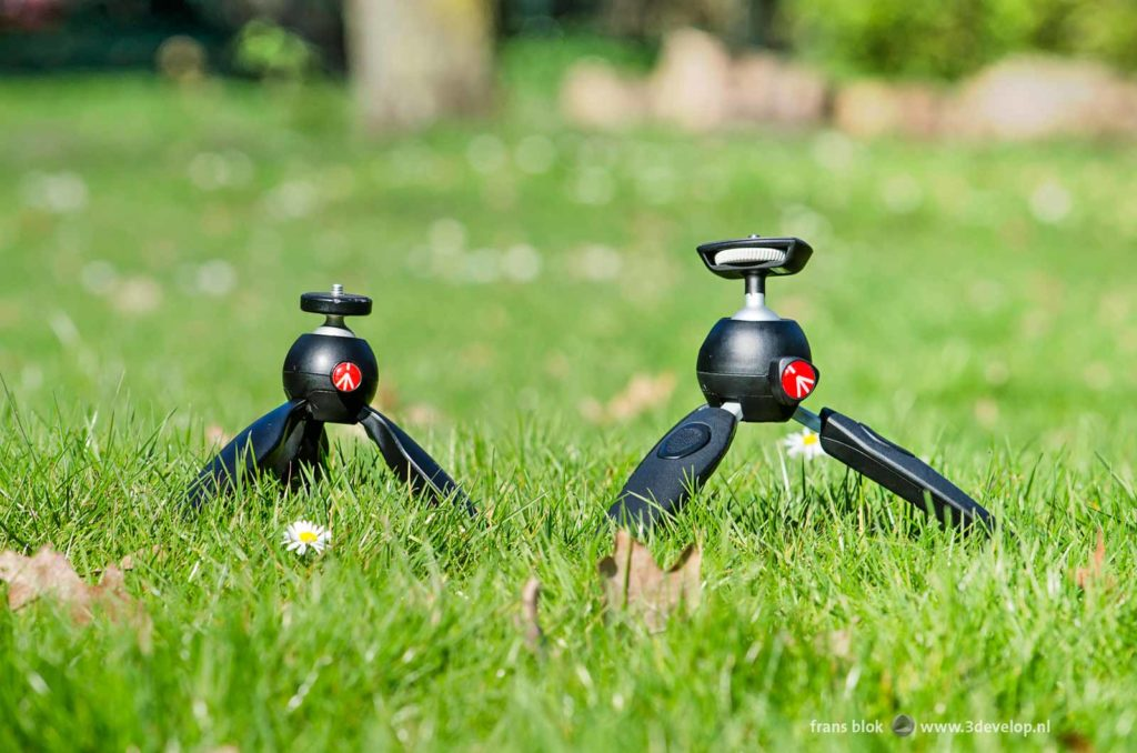 Two different Manfrotto mini tripods on a lawn with daisies