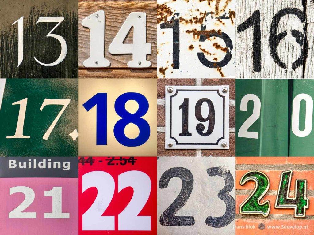 Numbers 13 to 24 of the numbers challenge, a colorful and diverse collage of house numbers and other found footage