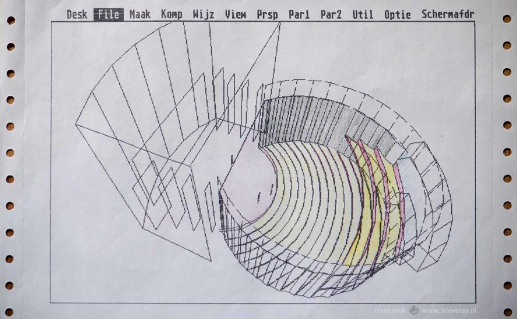 Computer aided visualisation in 1988: a wireframe model of a theatre in Hoogvliet, the Netherlands, printed on a matrix printer
