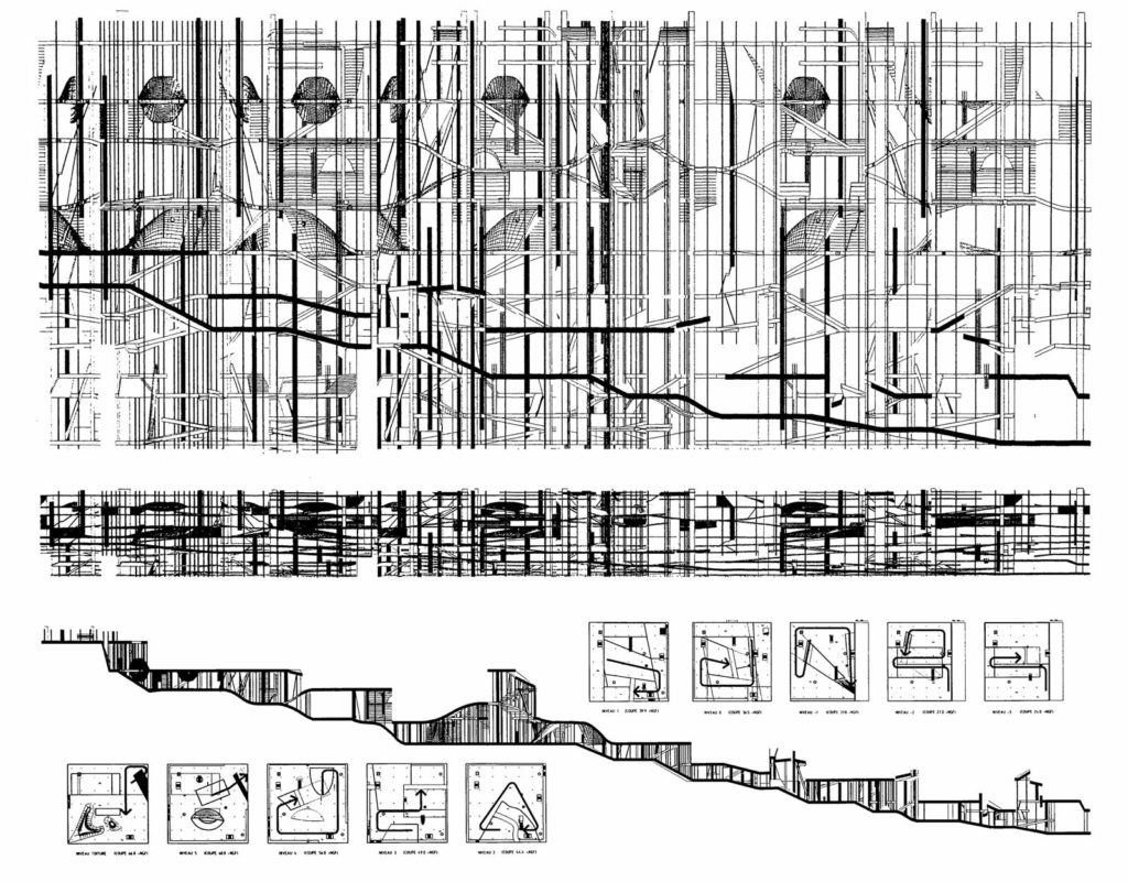 Super section and plans of the Jussieu libraries, Paris, design by Office for Metropolitan Architecture