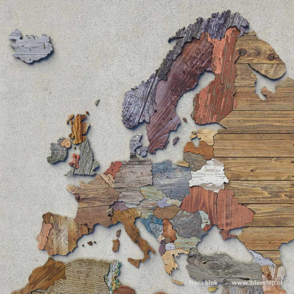 The digital scrapwood map of Europe, made of 54 different pieces of virtually recycled wood