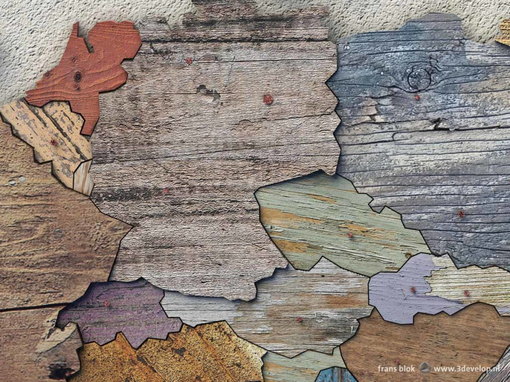 Detail of the scrapwood map of Europa featuring various countries in Central Europe