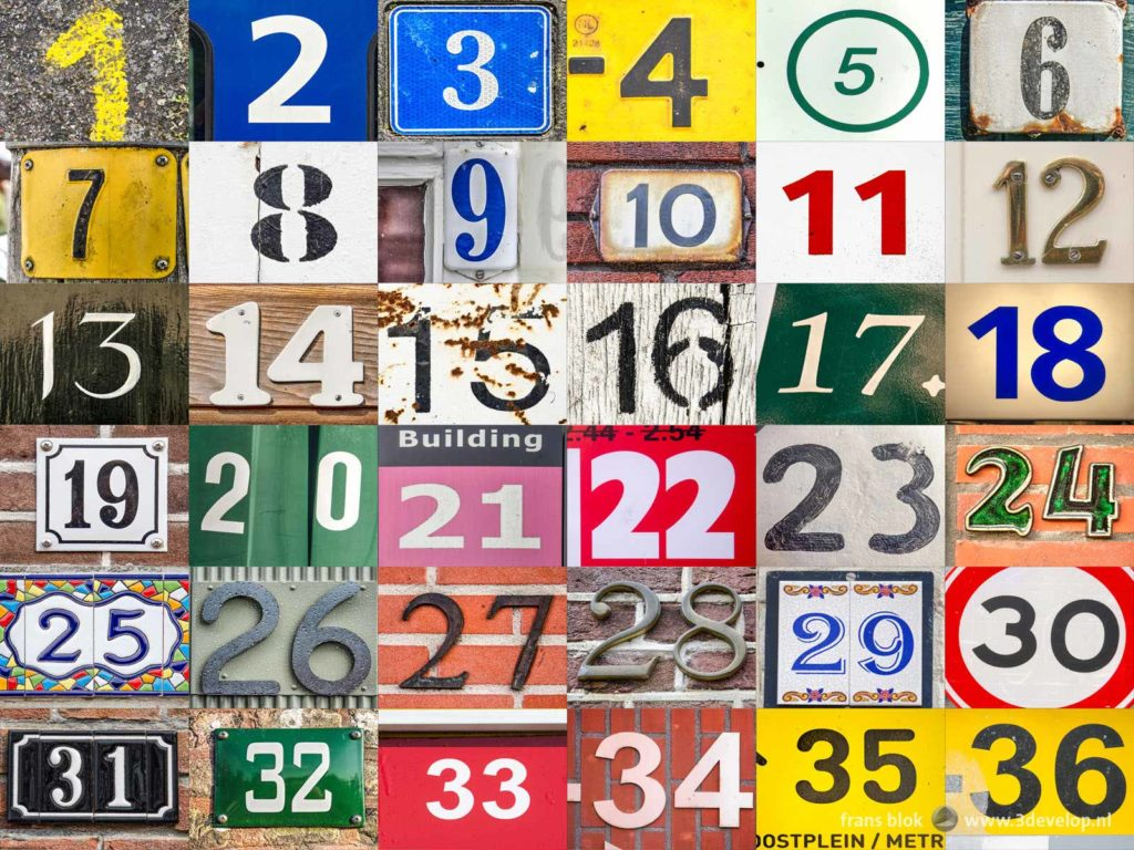 The numbers 1 to 36 in the numbers challenge, a colorful and diverse collage of house numbers and other found footage