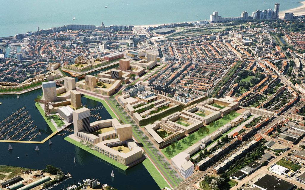 Photo montage of the design for the Scheldekwartier (2005) in an aerial photograph of the city of Vlissingen (a.k.a. Flushing) The Netherlands