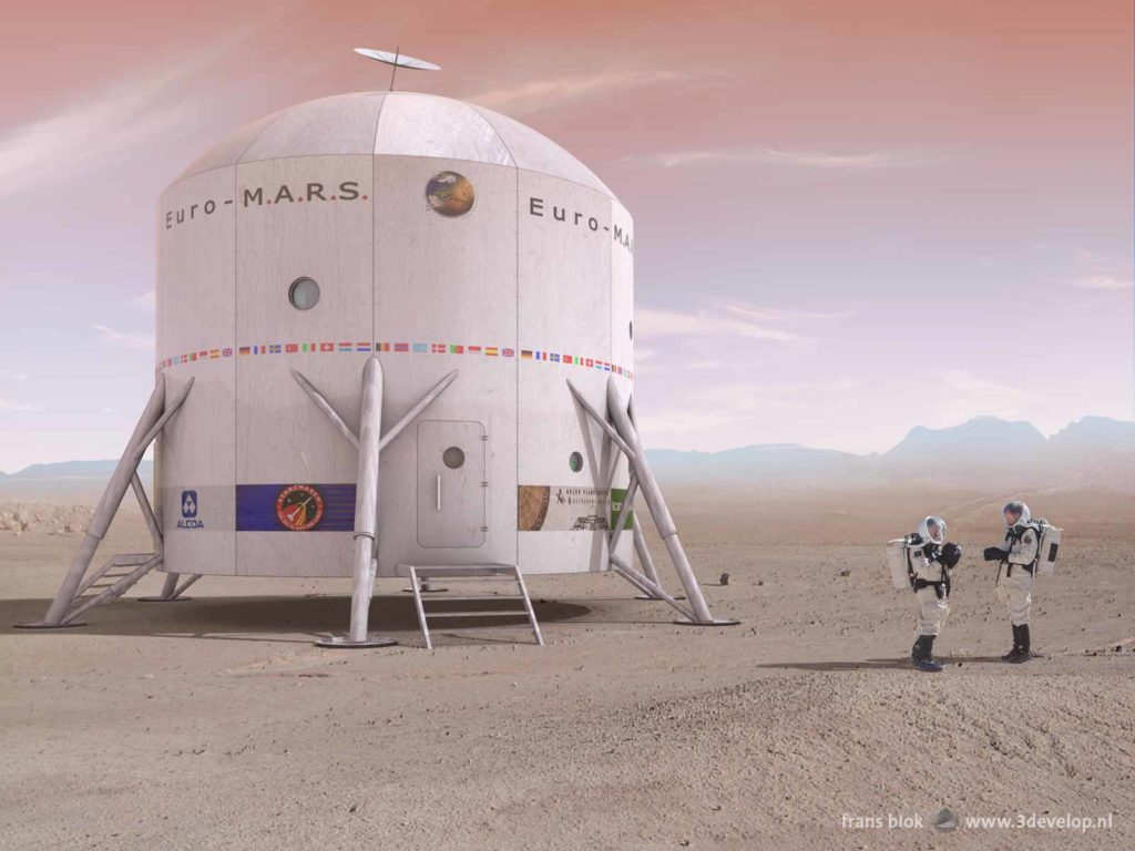 Artist impression of the European Mars Analogue Research Station with tow astronauts in the Krafla region in Iceland