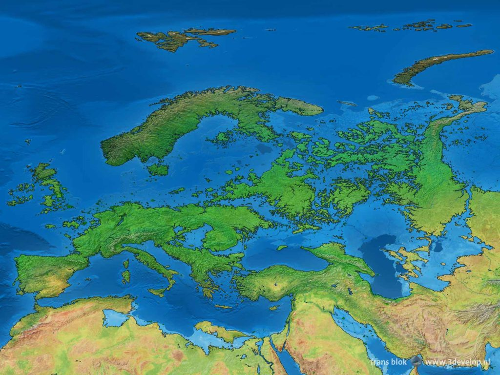 The drowned land of Europe, the map of the old continent, as well as Northern Africa and the Middle East, after melting of the polar ice, around 4000 AD