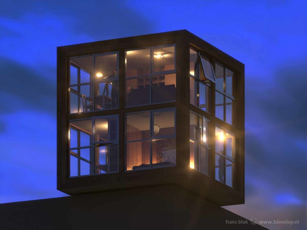 Impression of the cube-shaped catalogue rooftop house Blok's Block, seen from below, during the blue hour