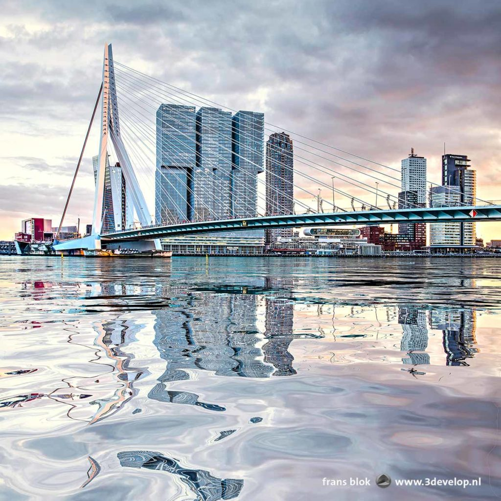Erasmus Bridge and Wilhelmina Pier in Rotterdam, The Netherlands, under a dramatic evening sky, reflecting in a digitally generated water surface