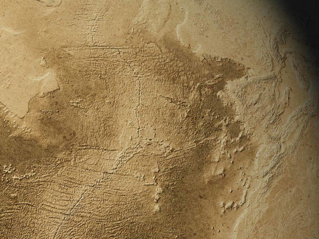 Detail of The Dry Earth, an image of our planet without water, with the northern part of the Atlantic Basin and the adjacent regions in North America, Africa and Europe