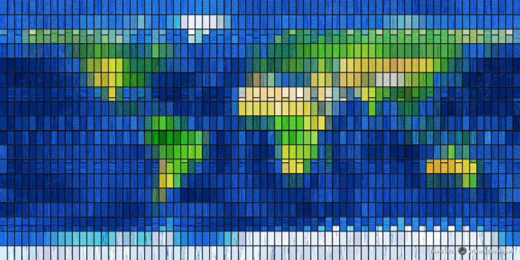 A digitally created world map made of 1440 pieces of colored virtual glass