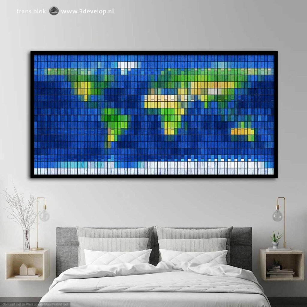 Bed room with on the wall a world map in stained glass in a black wooden frame