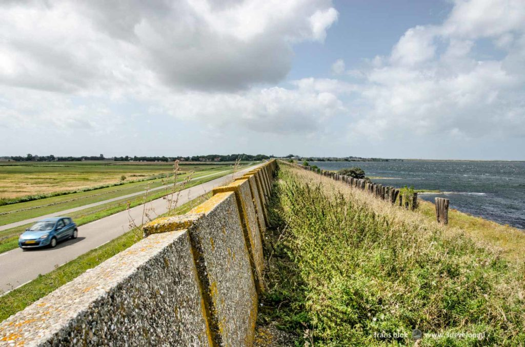 Part of the old concrete coastal defence wall on the island of Schouwen-Duiveland, part of a long distance trail around Lake Grevelingen