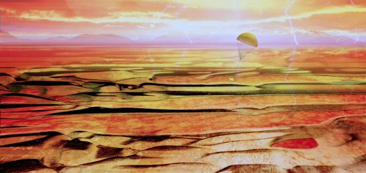 Artist impression of the ESA probe Huygens, landing on Titan, largest moon of the planet Saturn, in january 2005