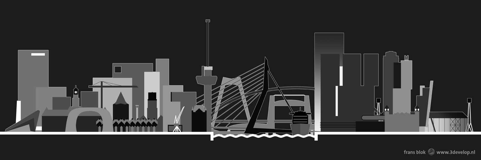Grafische voorstelling van de skyline van Rotterdam by nacht met de Markthal, de Euromast, de Erasmusbrug en talloze andere gebouwen, bruggen en andere landmarks