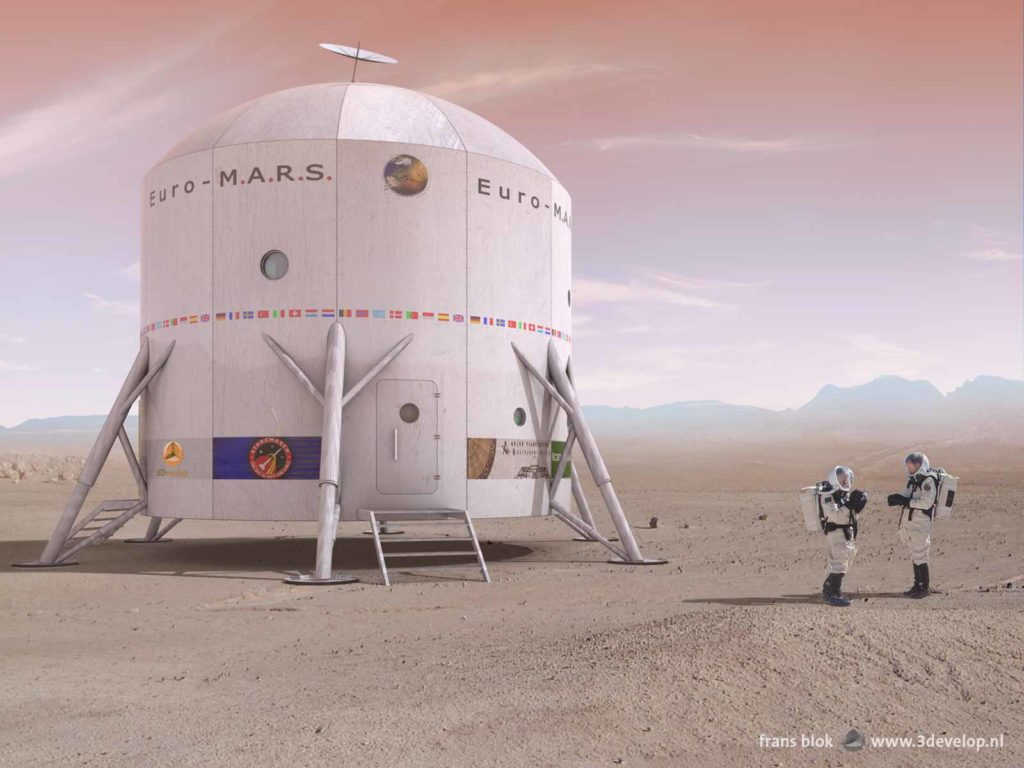 Artist impression of the European Mars Analogue Research Station at its proposed location in the area of the Krafla volcano in northern Iceland, with two astronauts discussing their equipment