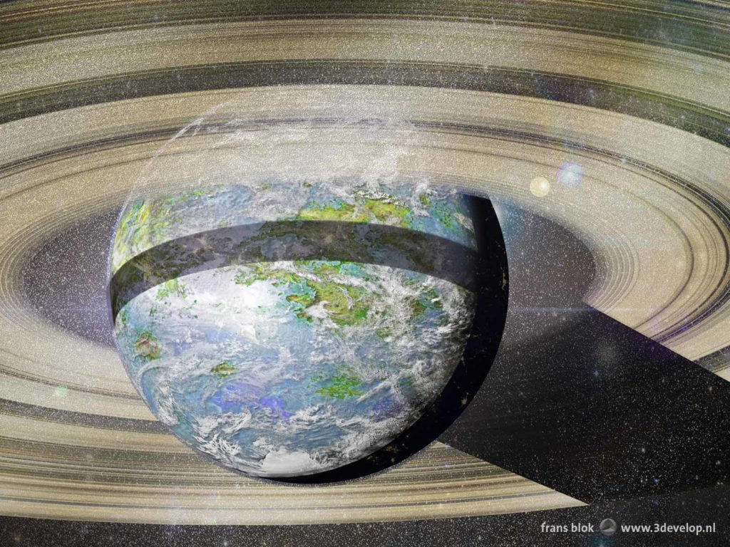 Artist impression of the planet Venus, terraformed, with oceans, continents and cloud patterns, as well as rings to provide shade in the equatorial regions