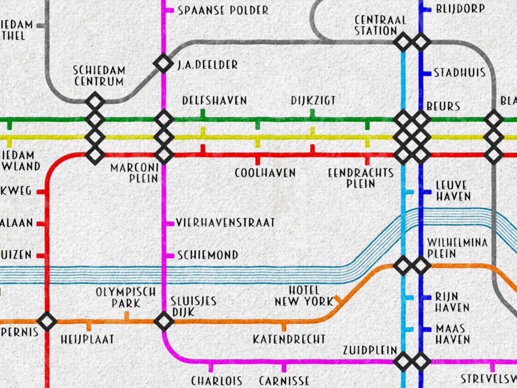 Detail van een fictieve metrokaart van Rotterdam in 2050, gebaseerd op de Londense metrokaart van Harry Beck uit 1934