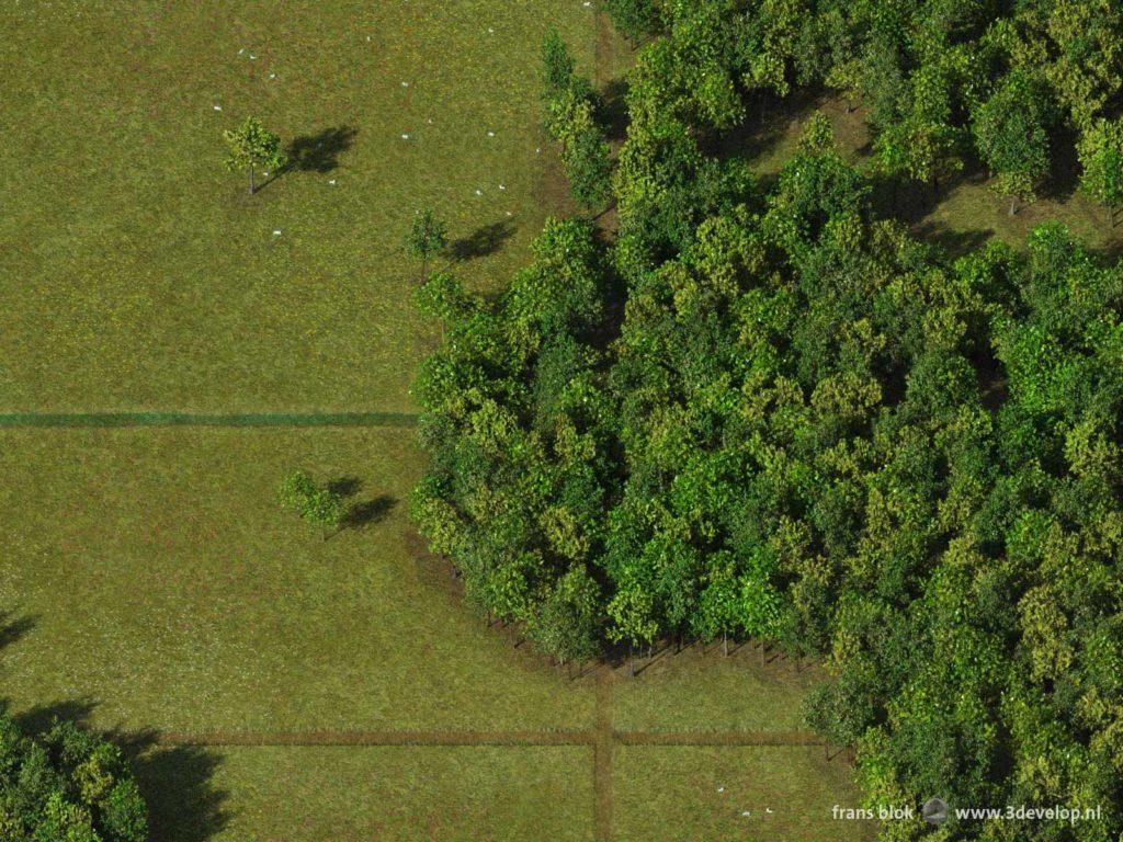 Detail van de Bos-wereldkaart, gemaakt van digitale bomen omgeven door virtuele grazige weiden, met Noord- en West-Afrika, Zuid-Europa, een stukje Brazilië en een deel van de Atlantische Oceaan