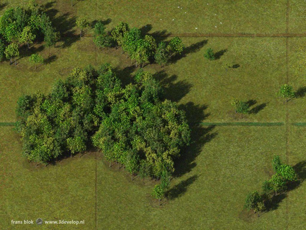 Detail van de Bos-wereldkaart, gemaakt van digitale bomen omgeven door virtuele grazige weiden, met Australië, Nieuw-Zeeland en een deel van Indonesië