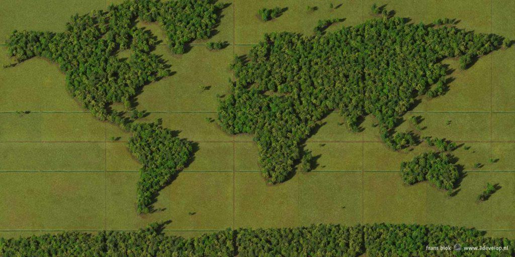 De Bos-wereldkaart, gemaakt van 15000 digitale bomen omgeven door virtuele grazige weiden