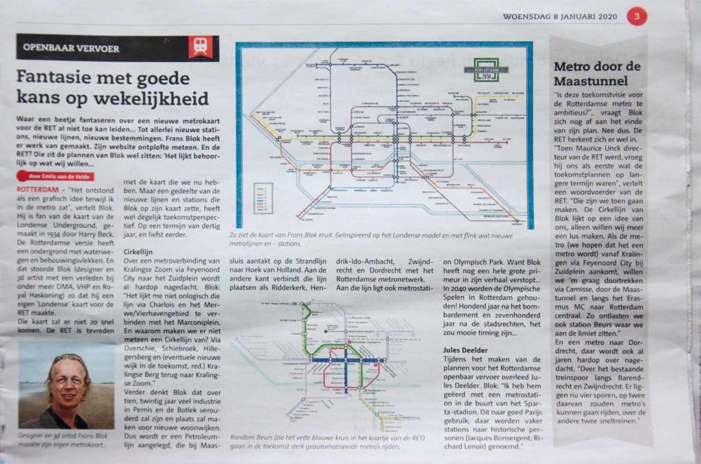 Artikel in huis-aan-huisblad De Havenloods over de kaart van Frans Blok met het Rotterdamse metrolijnennet in 2050 en de toekomstplannen van de RET