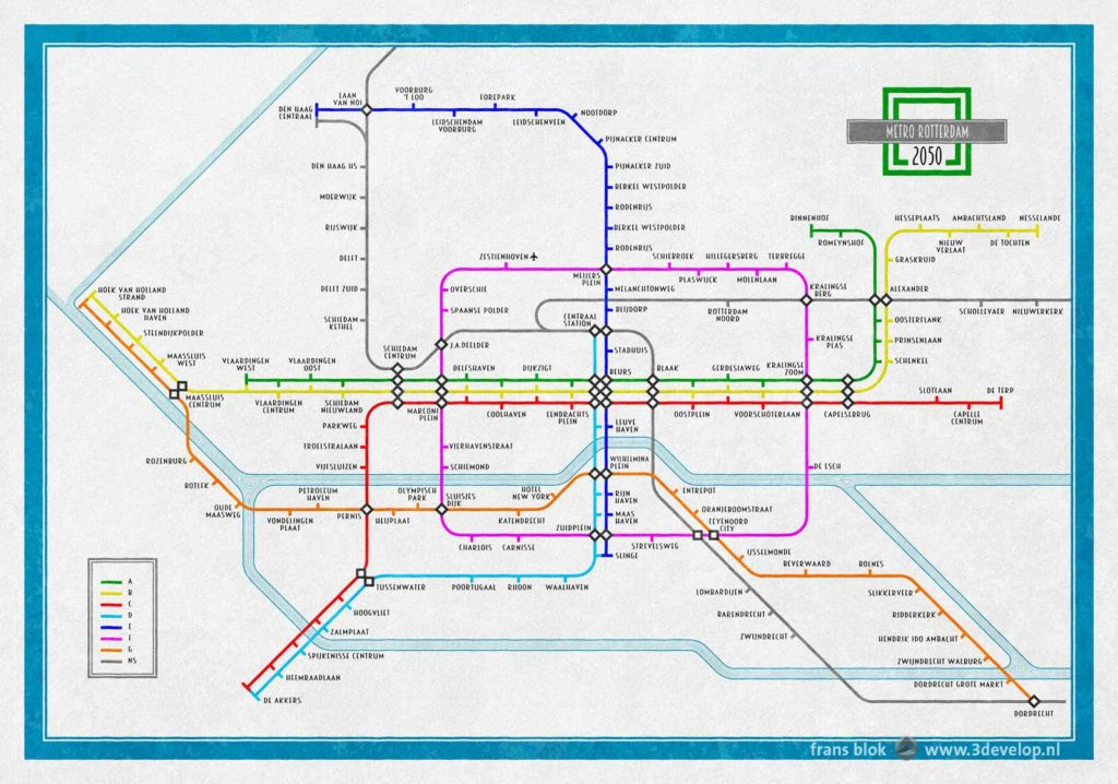 Future vision for the Rotterdam metro network, with two new lines, visualized as an old school London Underground map