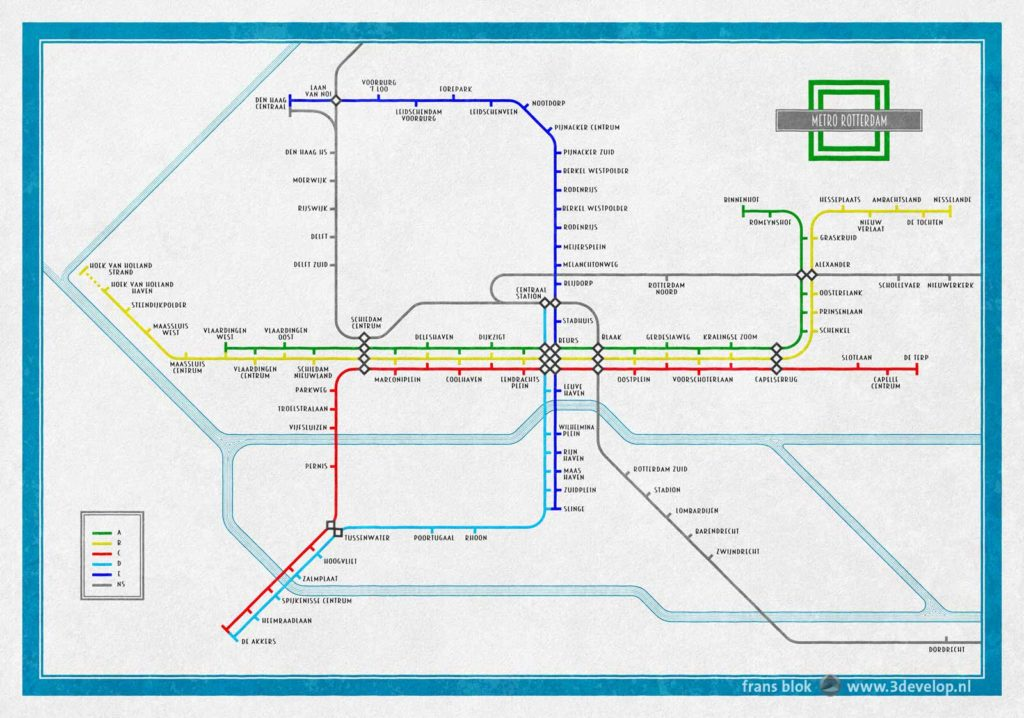 Alternative map of the metro metwork of rotterdam, inspired by the London Underground plan by Harry Beck from 1934