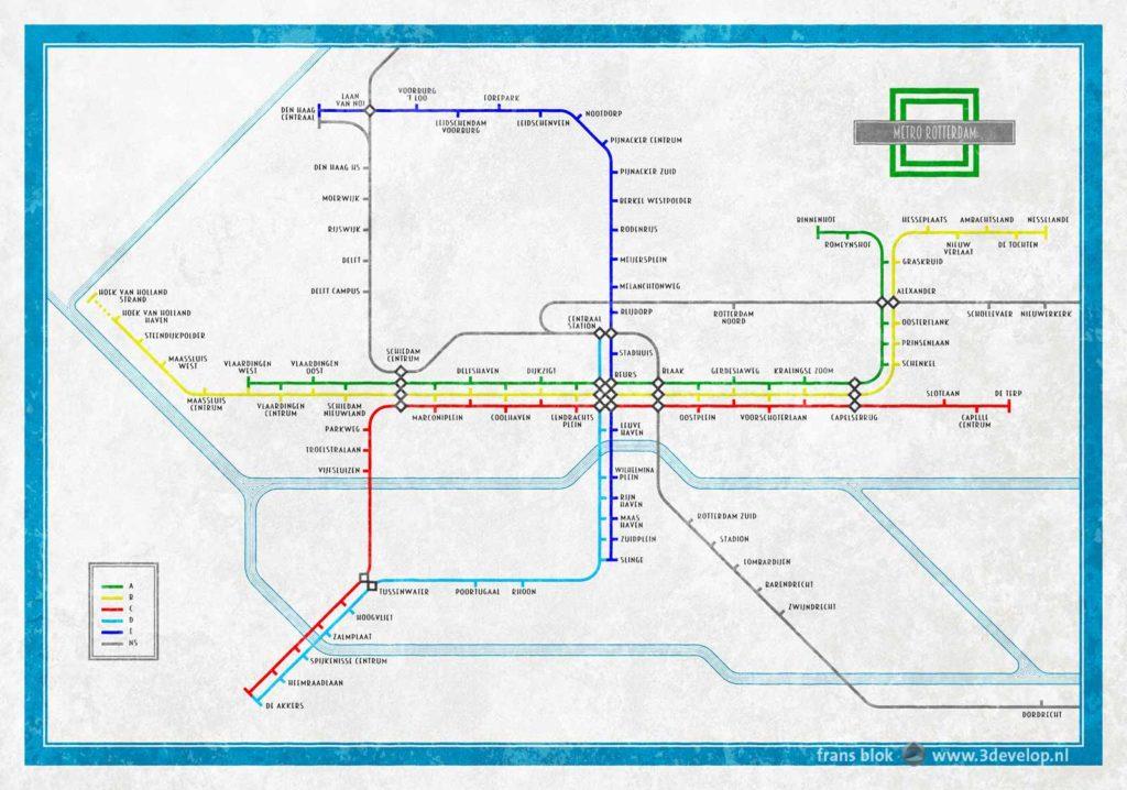 Alternatieve kaart van het metronetwerk van Rotterdam, geïnspireerd door de London Underground-plattegrond van Harry Beck uit 1935