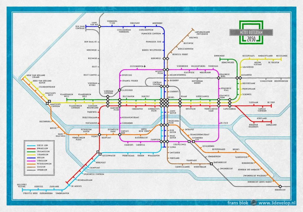 Kaart van het metronetwerk van Rotterdam zoals het er uit zou kunnen zien in 2050, met drie nieuwe metrolijnen en een paar andere uitbreidingen