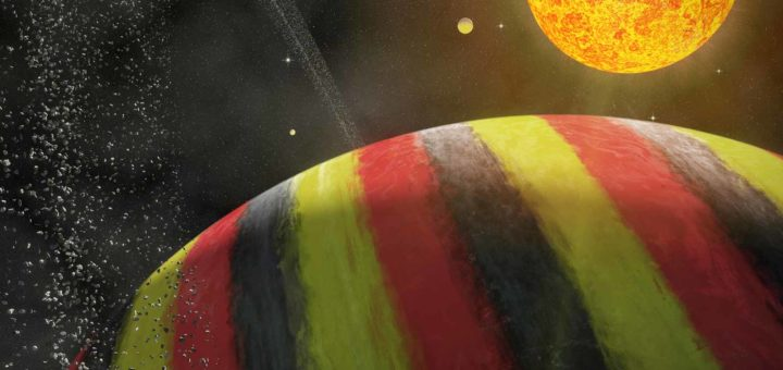 "Artist impression of the ""Belgian"" planet Nervia, portrayed as a gas giant in the black, yellow and red of the national flag, with some moons, a ring and the star Neburonia"