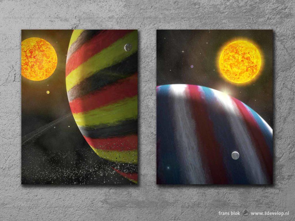 Twee artist impressions van exoplaneten, Jupiter-achtige gasreuzen, in de kleuren van de Duitse, respectievelijk de Franse vlag
