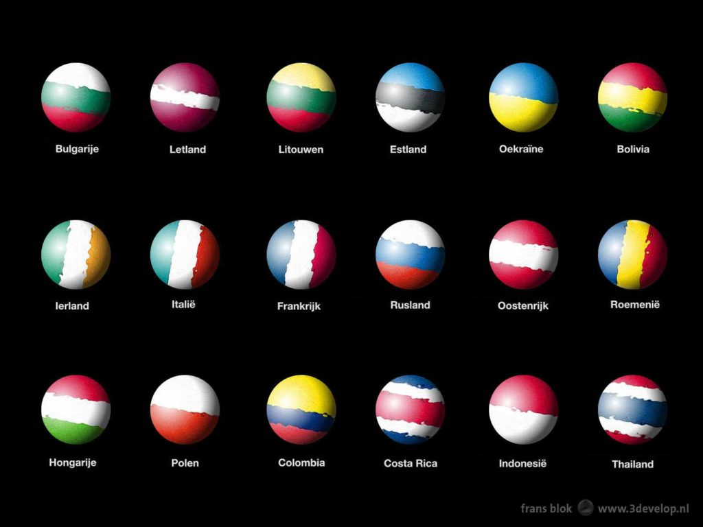 Eighteen planets, Jupiter-like gas giants, in the colors of the flags of eighteen countries