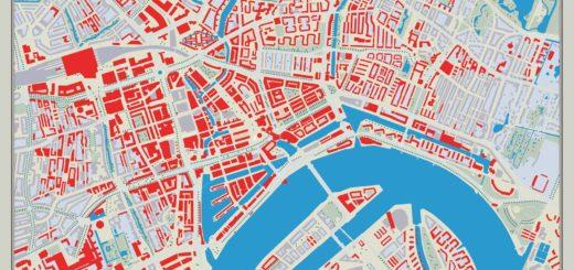 """Een """"revisietekening"""" van het Basisplan voor de Wederopbouw van Rotterdam van ir. van Traa uit 1946, met de stad zoals die in de tachtig jaar na het bombardement opgebouwd is"""