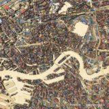 Een kaart van Rotterdam, de binnenstad en wijde omgeving, opgebouwd uit digitaal sloophout, multiplex en spaanplaat