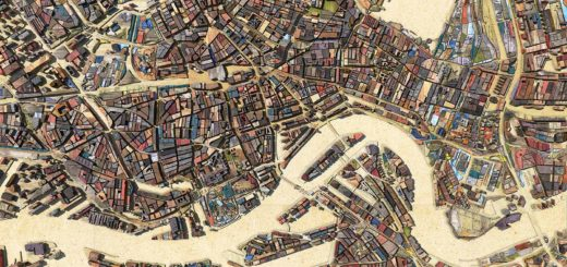 A map of the inner city of Rotterdam, The Netherlands and surrounding neighbourhoods, made of digital scrapwood, plywood and chipboard